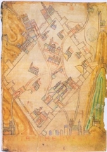 An 11th Century map of Jerusalem showing a Saint Lazare hospital